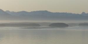 Misty early morning in glacier bay.