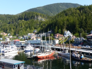 One of several marina's along the waterfront at Ketchikan.