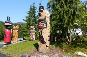 Totems on the hill  at the end of the furnicular.