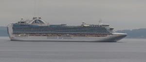 The giant cruise ship, RUBY PRINCESS racing us to a berth in Seattle.