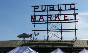 One of many entrances to the Pikes Place Markets