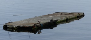 An old marina pontoon, rotting and a menace to navigation.