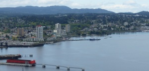 The city of Nanaimo seen from the seaplane cockpit.