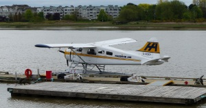 One of several seaplanes at South Vancouver ready for flights to places along the coast and several destinations on Vancouver Island.