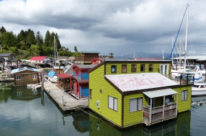 Just some of the colourful floating houses in Cowichan Bay.