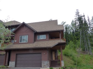 "This is the private chalet we stayed at on Kicking Horse Mountain. Note the ""spikes"" on the roof. These are to stop snow falling off in one big lump and injuring somebody walking below."