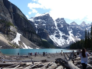 Moraine Lake with log jam in the foreground.