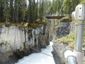 The water of Athabasca River forces its way through this narrow gorge.