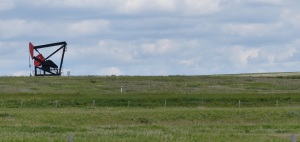 All around the countryside and within Drumheller are these private oil derricks.