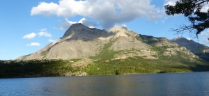 View from Waterton across the lake to the US side.