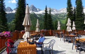 The outdoor dining area was not yet open for lunch but we had our coffee here with a great view of the Three Bears. Mumma Bear is obscured by a  folded umbrella.