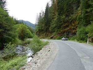 Rough sealed road from Lake Cowichan to Port Renfrew.