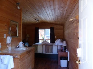 Inside our timber lines Poolside Cottage.
