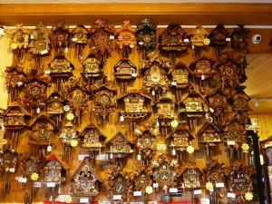A wall of Cuckoo Clocks.