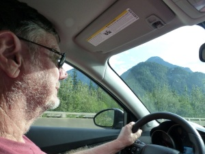 The driver casually cruising the 120 KPH motorway to Vancouver.