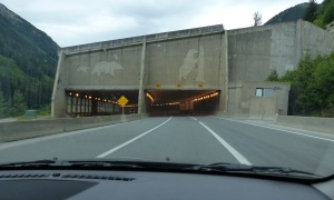 The highway also has tunnels. Note the bear  in relief set into the concrete.