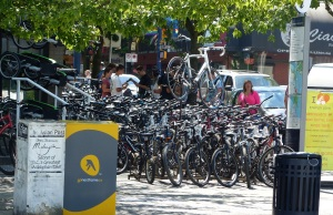 Cycling, especially rental cycles, are popular in Vancouver.