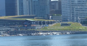 Vancouver Convention Centre. Note the lawns and gardens and picnic area on the roof.
