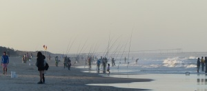 Taiwanese fisherman lined along Main Beach