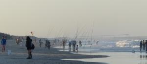 Taiwanese fisherman lined along Main Beach