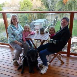 Donnis and Frank with Amelia and Hannah on the rear deck of the house.