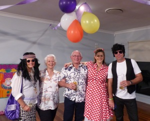 Sister Enid as a 60's hippy, Dawn n Tony, Sister Sandi and fiancee Dave as 50's rock n rollers.