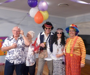 Tony and wife Dawn with Ken n Enid and the great clown, Donnis.