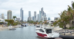 One of the Gold Coast canals with the skyline always in view.