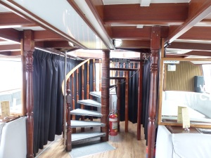 Inside our boat was an internal winding staircase to reach the popular viewing platform.