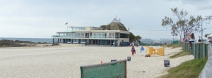 Currumbin Beach s Surf Club with Coolangatta in the distance.