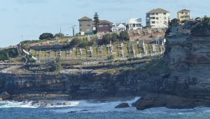 Clovelly Cemetry which is on the Bondi to Maroubra clifftop walk. Part of the walk below the cemetry is suspended over the ocean.