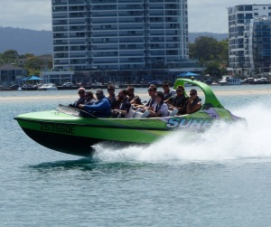Several jet boat operators use this stretch of The Spit to carry out their high speed antics