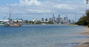 View of Surfers Paradise from the (free I believe) laggon mooring area.