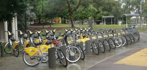 One of dozens of bike hire stations located around Brisbane.