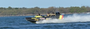 The jet boats come past the Broadwater