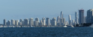 Skyline of Southport and Surfers Paradise.