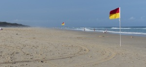 View along the Broadbeach towards The Spit where the salty spray is easy to see.