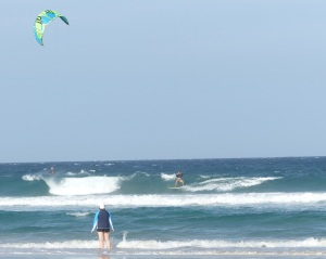 Kite Surfer enjoying a wave.