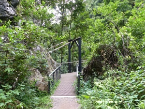 Entrance to Ranger John Stacey Memorial Suspension Bridge.
