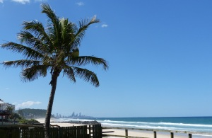 Surfers Paradise seen from Palm Beach Surf Club Dining room.