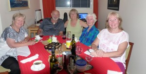 Dinner New Years Eve. Left to right Wenke, Graeme, Donnis, Dee Dee and Glenda.