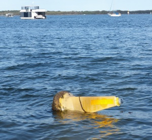 Last weeks storm blew two boats onto the Broadwater Beach along with this navigation beacon.