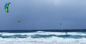 Kite surfing in the best of windy conditions.
