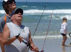 Doug working hard at flying a kite...