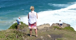 Doug Linda and Donnis brave the strong winds on the cliffs above Cabarita Beach.