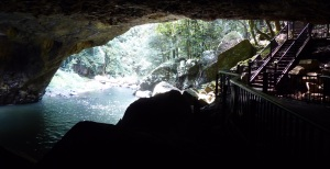 Inside the grotto. Home to a colony of bats and glow worms.