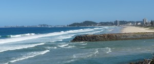 Looking south to the Tallebudgera rockwall. with Currumbin and Coolangatta in the distance.