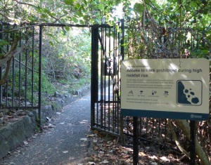 There are several gates to close access during periods of bad weather when there is a risk of a landslide and as happened last year, a bushfire.