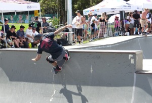 Skaters become airborne.