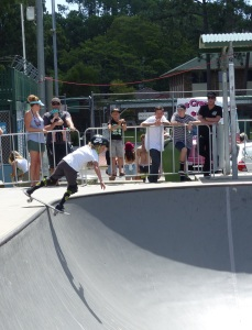 This was, I think, the youngest and shortest skater showing his skill sliding across the lip of the bowl.